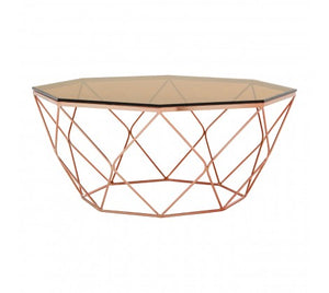 Premier Housewares Allure Coffee Table With Rose Gold Base