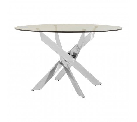 Premier Housewares Allure Intersected Chrome Round Dining Table