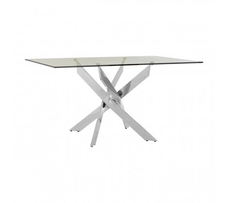 Premier Housewares Allure Rectangular Chrome Dining Table