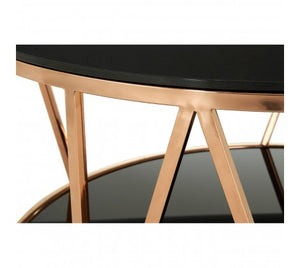 Alvaro Round Rose Gold Finish Coffee Table.