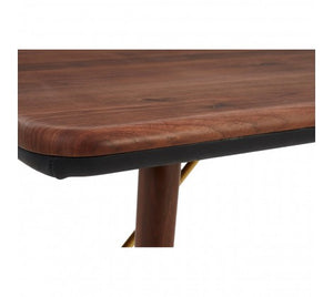 Premier Housewares Kenso Walnut Wood / Brass Finish Dining Table