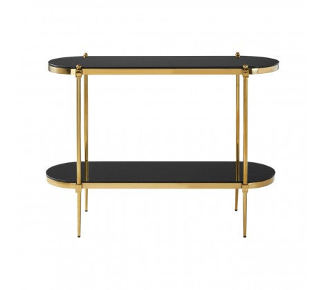 Premier Housewares Arezzo Console Table Back Tempered Glass Stainless Steel Frame - kudo Lounge