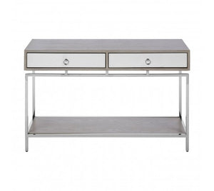 Premier Housewares Kensington Townhouse Silver Chic Console Table mirrored drawers - kudo Lounge