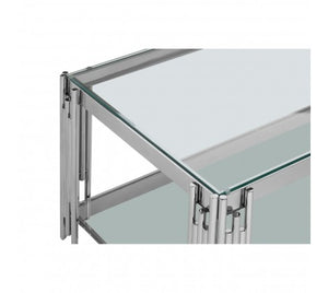Premier Housewares Allure Silver Linear Design Coffee Table