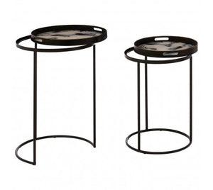 Premier Housewares Celina Set Of 2 Marble Effect Nesting Tables