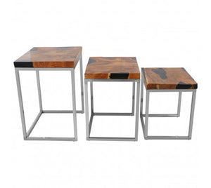 Premier Housewares Surak Set Of 3 Teak Wood Nesting Tables