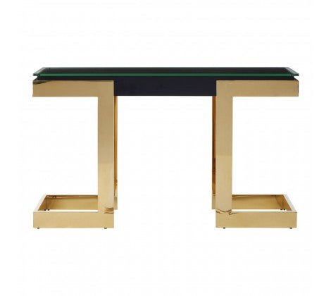 Premier Housewares Deana Console Table Gold Finish Sleek Black Top - kudo Lounge