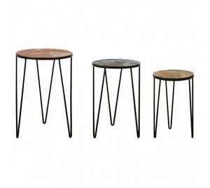 Premier Housewares Mirano Set Of 3 Side Tables