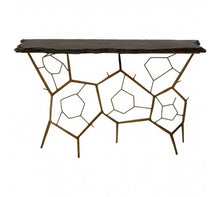 Load image into Gallery viewer, Premier Housewares Rany Black Stone Top Console Table Metal Frame - kudo Lounge