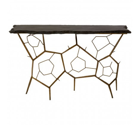 Premier Housewares Rany Black Stone Top Console Table Metal Frame - kudo Lounge