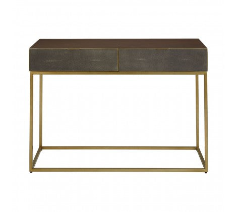 Premier Housewares Kempton Console Table Textured Shagreen Cabinet Gold Finish - kudo Lounge