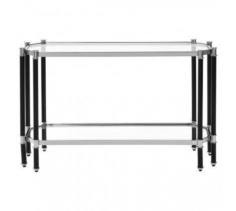 Premier Housewares Allessi Silver Chrome Console Table Stainless Steel Frame - kudo Lounge