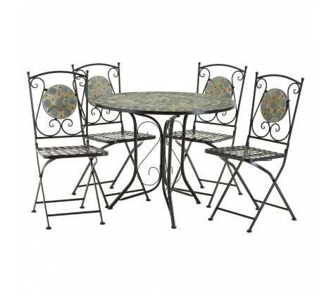 Premier Housewares Amalfi Blue/Stone Mosaic 4 Chairs Table Set