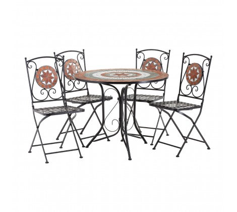 Premier Housewares Amalfi Terracotta Mosaic 4 Chairs Table Set