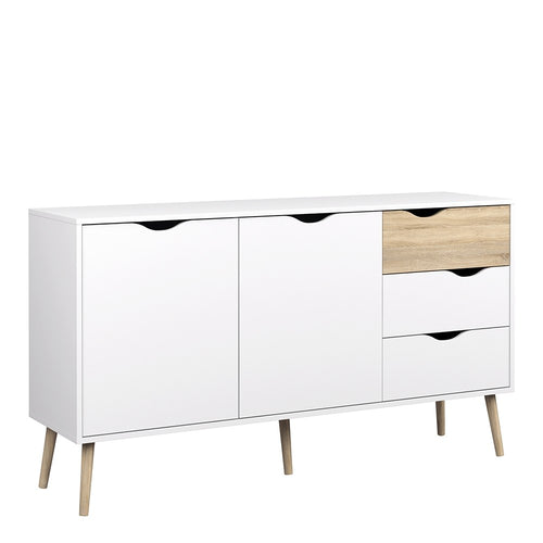 Furniture To Go Oslo Sideboard - Large - 3 Drawers 2 Doors in White and Oak