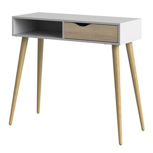 Furniture To Go Oslo Console Table 1 Drawer 1 Shelf in White and Oak