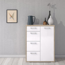 Load image into Gallery viewer, Furniture To Go Homeline Sideboard 4 Drawers 1 Door in Oak with White High Gloss
