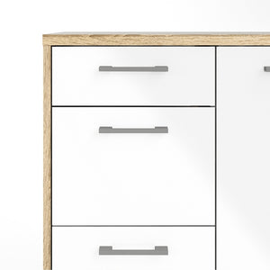 Furniture To Go Homeline Sideboard 4 Drawers 1 Door in Oak with White High Gloss