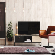 Load image into Gallery viewer, Furniture To Go Stubbe TV Unit 1+2 drawers and open shelf in Matt Black Oak