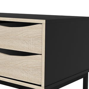 Furniture To Go Stubbe TV Unit 1+2 drawers and open shelf in Matt Black Oak