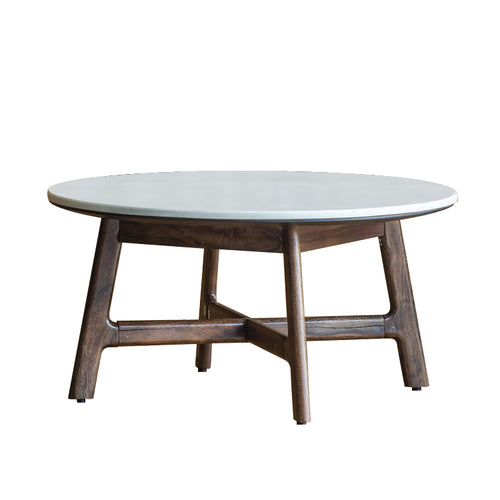 Gallery Direct Round Wood Barcelona Coffee Table Stylish White Top - kudo Lounge