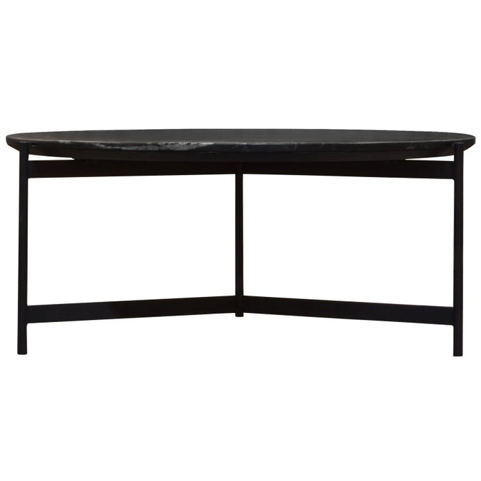 Gallery Direct Round Black Marble Top Bari Coffee Table 3 Legs - kudo Lounge