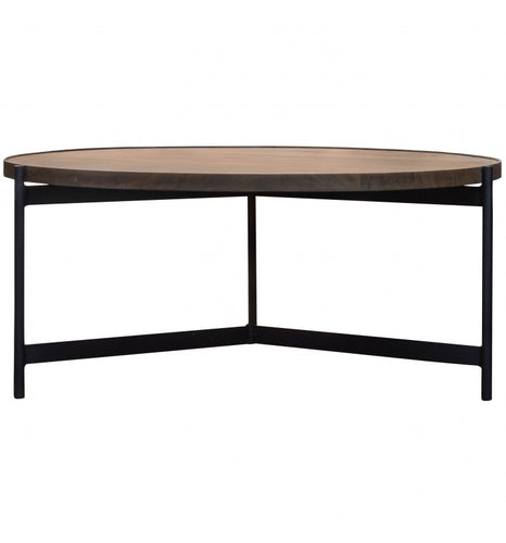 Gallery Direct Round Bari Coffee Table Acacia Wood Top With Modern Style - kudo Lounge