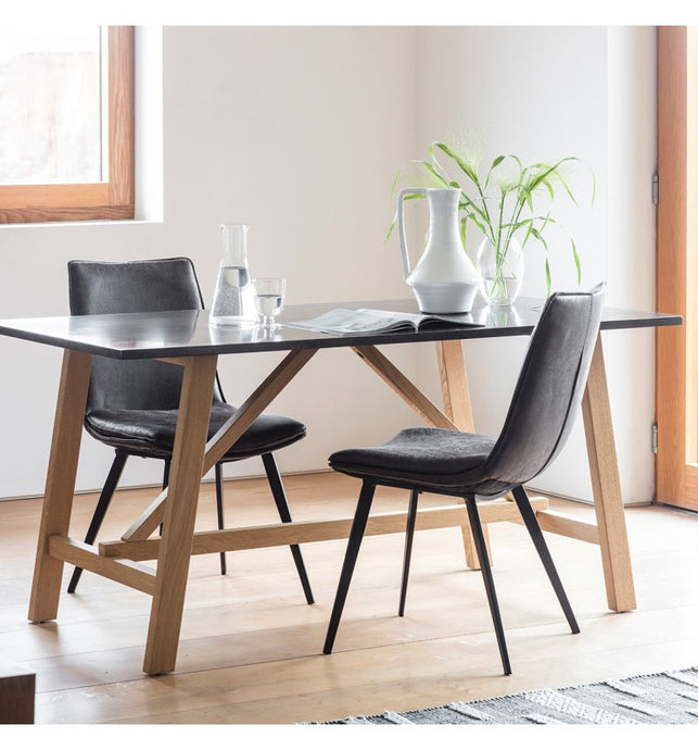 Gallery Direct Brixton Burnished Resin Unique Black Dining Table Metallic Bronze - kudo Lounge