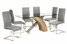 Heartlands Furniture Chiswell Dining Table Chrome & Natural - kudo Lounge