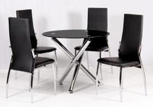 Load image into Gallery viewer, Heartlands Furniture Calder Dining Table Chrome & Black Glass / Glass Top - kudo Lounge