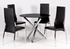 Heartlands Furniture Calder Dining Table Chrome & Black Glass / Glass Top - kudo Lounge