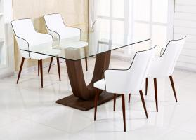 Heartlands Furniture Capri Dining Table Clear Glass Walnut with 6 Chairs - kudo Lounge