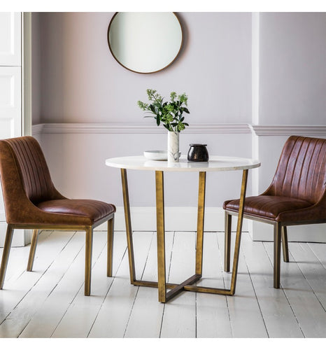 Gallery Direct Cleo Round Dining Table Marble Top Bronze Angled Metal Base - kudo Lounge