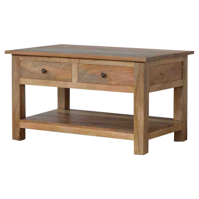 Artisan Country Style Solid Mango Wood Coffee Table With 4 Drawer - kudo Lounge