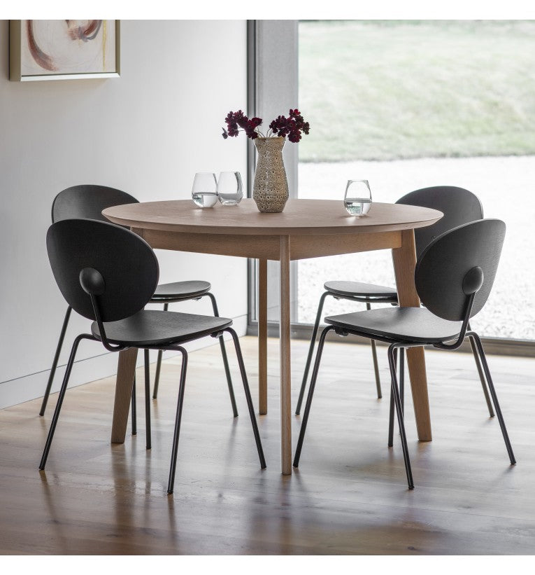 Gallery Direct Forden Round Dining Table Grey Oak And Metal - kudo Lounge