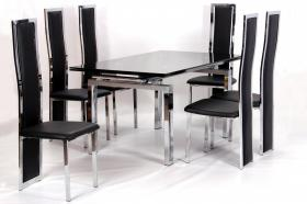 Heartlands Furniture Highgrove Extending Dining Table Chrome & Black - kudo Lounge