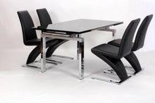 Load image into Gallery viewer, Heartlands Furniture Highgrove Extending Dining Table Chrome & Black - kudo Lounge
