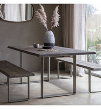 Load image into Gallery viewer, Gallery Direct Huntington Dining Table Grey Top Chrome Metal Legs - kudo Lounge