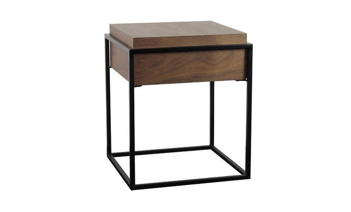 Elvi Side Table Geometric Shapes With Warm Walnut Veneer - kudo Lounge