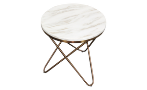Else Side Table Striking Rose Gold Legs Luxurious Marble Top - kudo Lounge
