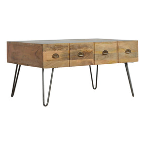 Artisan Mango Wood Coffee Table 4 Drawers Brass Iron Base Legs - kudo Lounge