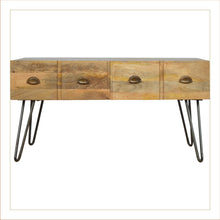 Load image into Gallery viewer, Artisan Mango Wood Coffee Table 4 Drawers Brass Iron Base Legs - kudo Lounge