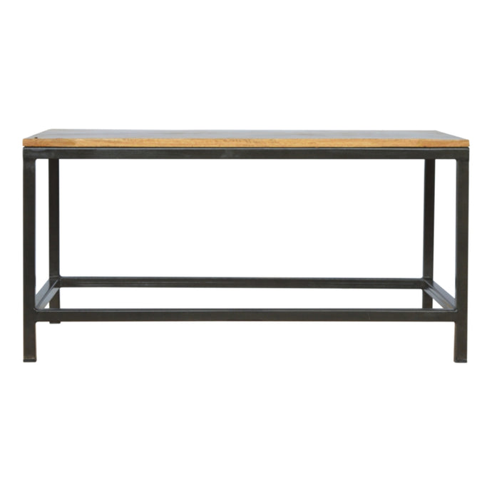 Artisan Mango Wood Coffee Table Smooth Oak-ish Finish Metal Legs - kudo Lounge