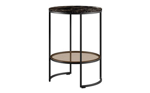 Round Leo Nightstand Side Table Unique Black Marble Top Glass Shelf - kudo Lounge