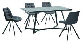 Heartlands Furniture Malta Stone Effect Glass Dining Table with Black Metal Legs - kudo Lounge