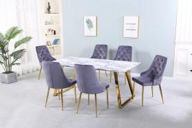 Heartlands Furniture Newchapel Marble Effect Dining Table with Gold Legs - kudo Lounge
