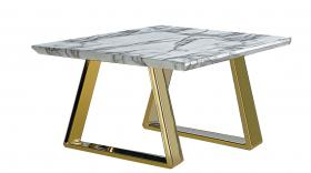 Heartlands Furniture Newchapel Marble Effect Lamp Table with Gold Legs - kudo Lounge