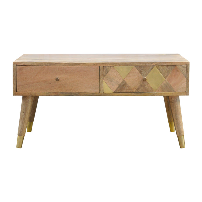 Artisan Solid mango wood Coffee Table,Golden Brass Draw Insert - kudo Lounge