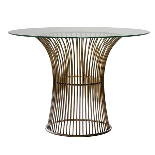 Gallery Direct Zepplin Round Dining Table Bronze Finish Glass Top - kudo Lounge