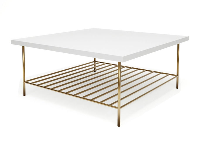 Gillmore ALBERTO SQUARE COFFEE TABLE White Top With Brass Frame - kudo Lounge